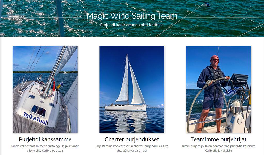 Magic Wind Sailing Team projekti sisältö web-sivuille WebWellHot